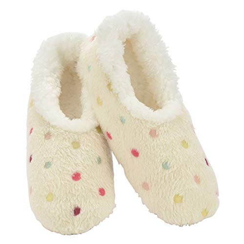 Snoozies Slippers for Women   Lotsa Dots Colorful Cozy Sherpa Slipper Socks   Womens House Slippers   Cozy Slippers for Women   Fuzzy Slippers   White   Large
