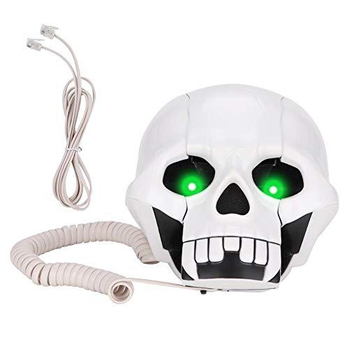 Diyeeni Teléfono Fijo con Cable como Regalo Ideal,Teléfono de Línea Fija de Estilo de Calavera de Halloween,Función de Almacenamiento de Números(Blanco,Dorado)(Blanco)