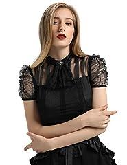 SCARLET DARKNESS Women's Victorian Lace Steampunk Shirt Blouse with Jabot Neckline Black Size XL #3