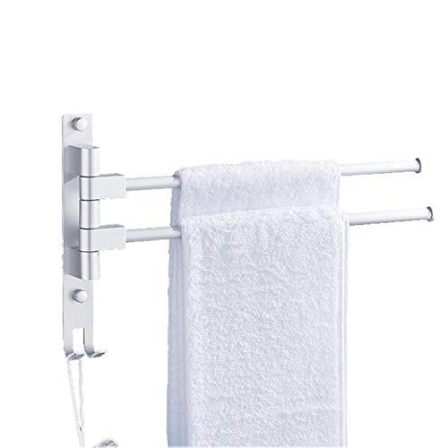 QYQS 2 Ganchos Perchas de Toalla, Aluminio Espacial, Longitud de Varilla 13.8in, Sin Punch, Soporte de Toalla de Baño de 180 °(Size:2 Hooks,Color:Plata)