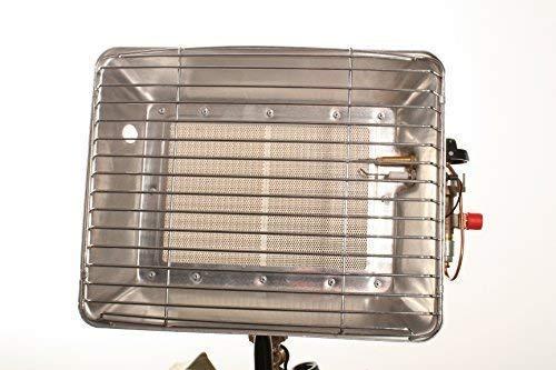 Gaskachel snel en eenvoudig te gebruiken. Gaskachel met aluminium kap overtuigt met een hoge abstraalprestatie incl. 400 mm lange gasslang en 50 mbar drukregelaar.