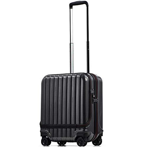 【PROEVO】スーツケース 機内持ち込み フロントオープン ストッパー付き サスペンション 8輪 機内持込 【AVANT】 ダブルキャスター キャリーケース キャリーバッグ 前ポケット 軽量 PCホルダー (SS-37L-ブラック【TYPE-B】)
