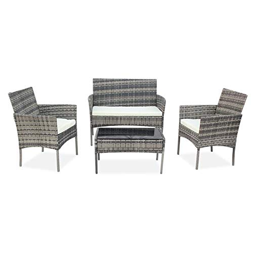 N\C OSHION Outdoor Living Room Balcony Rattan Furniture Four-Piece-Gray