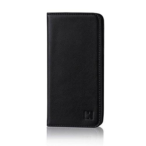 32nd Klassische Series - Lederhülle Hülle Cover für LG V30, Echtleder Hülle Entwurf gemacht Mit Kartensteckplatz, Magnetisch & Standfuß - Schwarz
