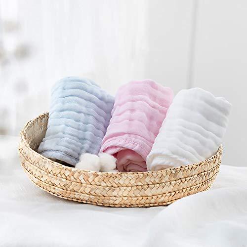 MIAOLEIE Pañuelo Toallas Muselina bebé recién Nacido-bebé Lavado de Agua 100% algodón Cuadrado 3pcs / Set