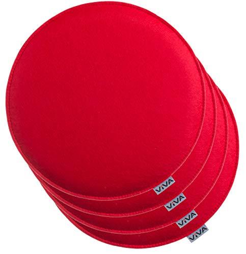 Brandsseller Cuscino rotondo in feltro, 100% poliestere, Colore: rosso, 4er-Vorteilspack