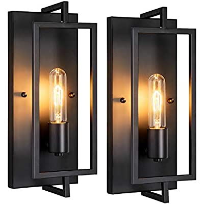 Industrial Wall Sconces Set of 2, Vintage Wall Light Fixture with E26 Base, Matte Black, Metal Rustic Wall Mount Lamp, Modern Indoor Wall Sconce Lighting for Living Room Bedroom Hallway