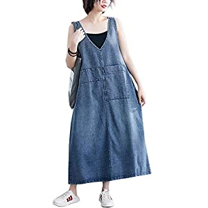 Flygo Women's Loose Midi Length Long Denim Jeans Jumpers Overall Pinafore Dress Skirt