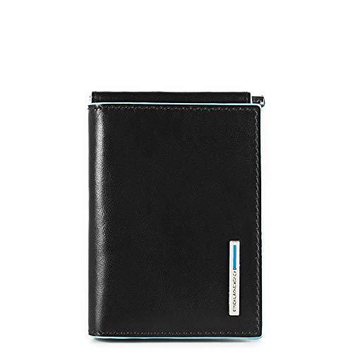 Piquadro Portafoglio Uomo Collezione Blue Square Portamonete, Pelle, Nero, 10 cm