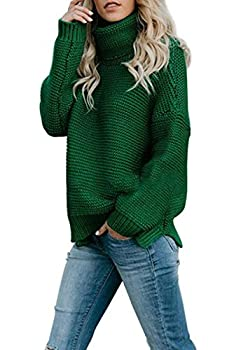 KINGFEN Fall Tops for Women 2019 Light Chunky Knit Turtleneck Sweaters Ladies Long Sleeve Loose Clothes Green L