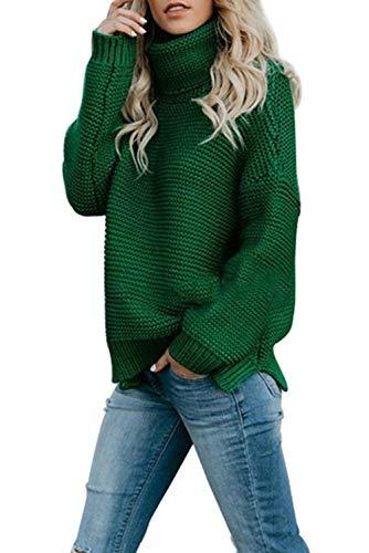 GOLDPKF Grüner Rollkragenpullover Damen Modisch Farbblock Pullover Basic Stil Strickpulli Elegant Winter Outfits Lose Große Größen Lang Grün M 40-42