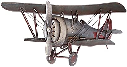 Vintage Airplane Metal Wall Art Vintage Galvanized Metal Biplane Airplane Old Aviation Rustic Wall Decor Airplane Pictures Huge Red and Black Artwork Pilot Gift