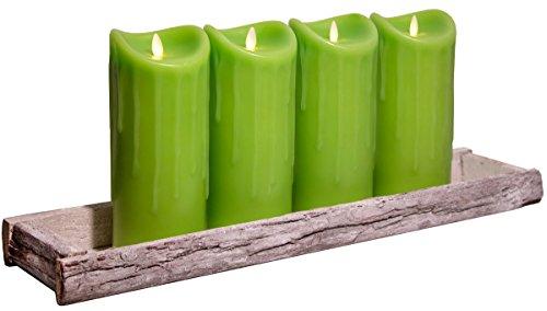 Tronje Dekoschale Holz Tablett 59x14cm inkl. 4 LED Kerzen 23cm Grün bewegte Flamme Timer Kerzentablett Shabby Chic Landhaus
