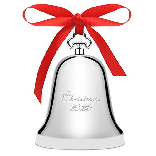 2020 Christmas Bell Silver, Luxiv Silver Christmas Bell for 2020 Bell Ornament with Gift Box and Red Ribbon (Silver)