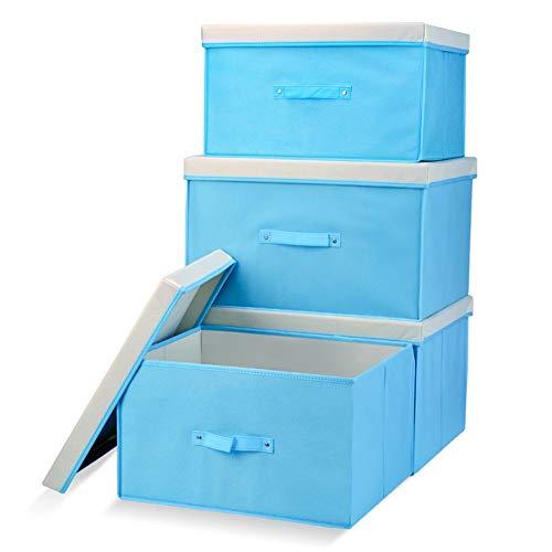 SXDHOCDZ 4 piezas de tela plegable caja de almacenamiento utilitaria caja de juguetes cubo armario con asa 60L + 40L