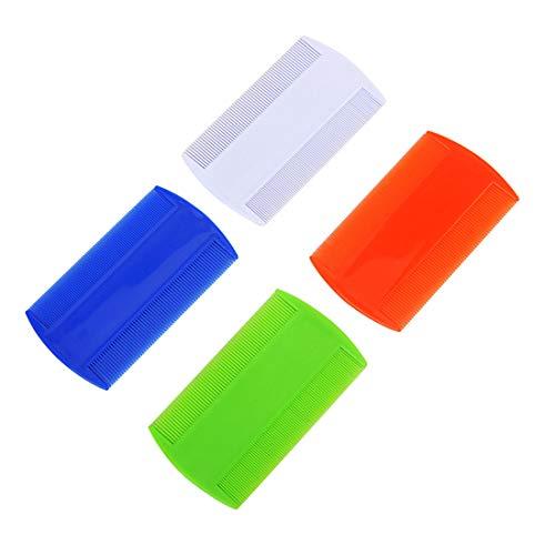 Junecat 2 Piezas de plástico de Color Puro al Diente Piojos antipulgas para Mascotas peines de Doble Cara Nit niños (Color al Azar)