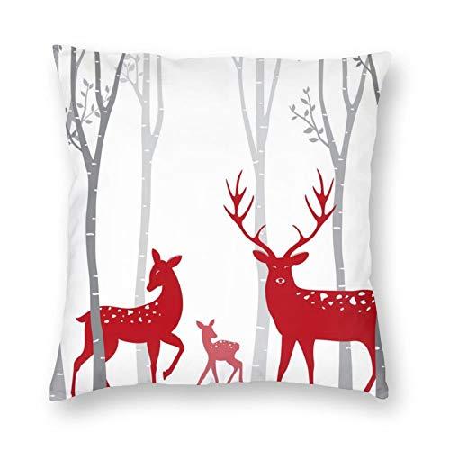 DESIGNS - Funda de cojín, diseño de ciervo rojo con abedul, funda de almohada decorativa para el hogar, para hombres, mujeres, niños, niñas, sala de estar, dormitorio, sofá de 55 x 55 cm