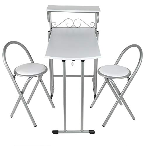 Greensen Küchentisch mit 2 Stühle Küchenbar, Klappbar Esstisch Frühstückstheke Balkonset Küchentheke Bartisch Tischplatte für Küche Esszimmer, Platzsparend