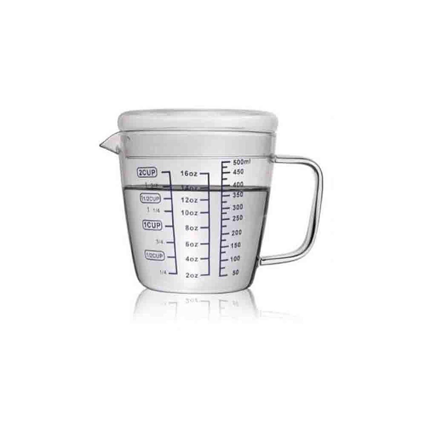 逆さまに減少バスHENGTONGTONGXUN 計量カップ、耐熱子供用ミルクカップ、電子レンジ付き計量カップ、透明スケールカップ、増粘500ml計量カップ(蓋付き) シンプルで実用的な製品