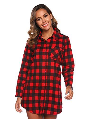 Misscoo Camisón de Manga Larga para Damas Camisón de Damas Pijama con Botones Camisón de Franela para niñas (Talla Color Opcional)