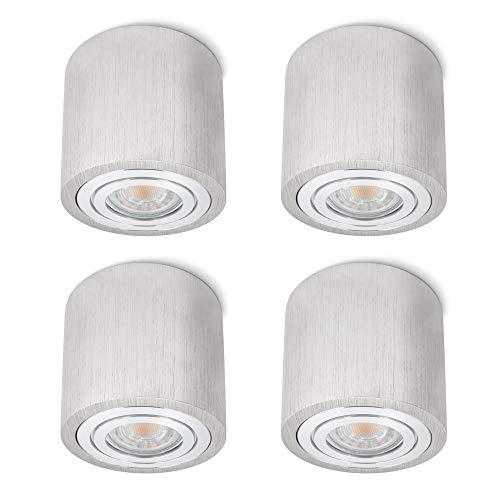4 Stück SSC-LUXon® LED Aufbaustrahler IP44 Badezimmer Alu gebürstet - mit LED GU10 5W warmweiß - Decken Aufbauleuchte Aussen