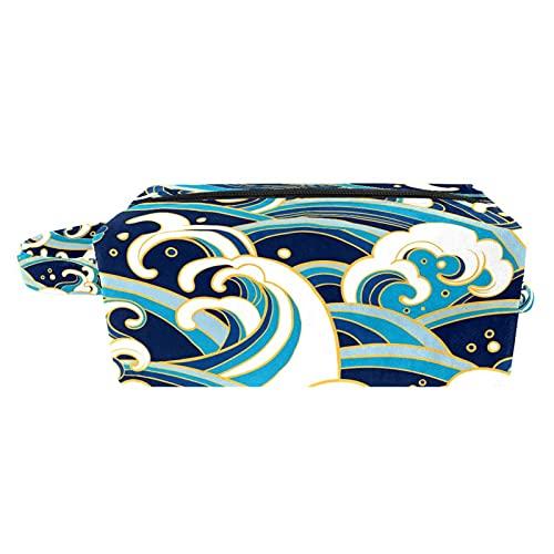 Bolso de Cosméticos de Viaje Ola oceánica Oriental Bolsa de Lavar Portátil Organizador de Cosméticos Impresión Billetera Pequeña para Mujeres Niñas Niños 21x8x9 cm