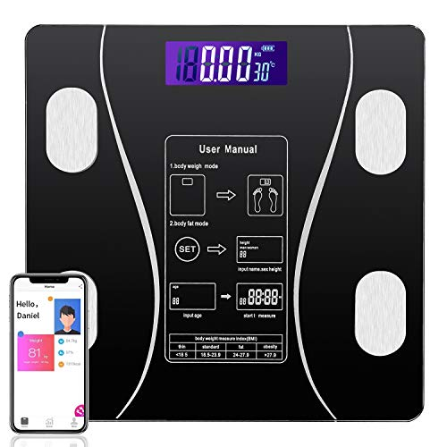 ouMandis Smart BMI Scales for Body Weight and Fat, Digital Wireless Bathroom Weight Scale Tracks 9 Key Fitness Composition, Body Composition Monitor Analyzer Connectivity with Bluetooth