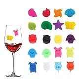 LxwSin Pennarelli per Bicchieri di Vino, Marcatori per Bevande,20 Pcs Marcatori per Bicchieri Riutilizzabili Pennarelli per Bevande, Identificatore in Silicone Alimentare per Party, Famiglia Cena, Bar