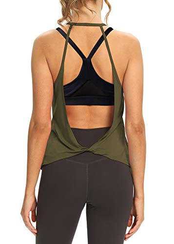 Mippo Open Back Workout Tops for Women Yoga Shirts Loose Backless Cute...