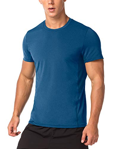 LAPASA Mens Sports T-Shirts - Quick Dry - Odour Technology - Running Workout Tops Vests Tees, 1-2 Pack, M, Blue