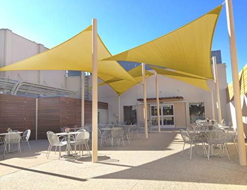 Joyards Toldo Vela de Sombra Triangular 3.6 Metros Transpirable Color Arena   Se instala fácil en fachada Exterior, terrazas, jardín, pérgola, Patio o balcón   Toldo Completo: 3 Cuerdas 1,5m y Manual