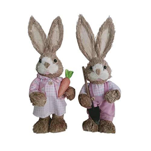 Ncbvixsw - Grazioso coniglietto in paglia, decorazione pasquale, per vacanze, giardino, matrimonio, 2 pezzi, decorazione divertente per feste e decorazioni per la casa, Cannuccia + schiuma., 5, medium