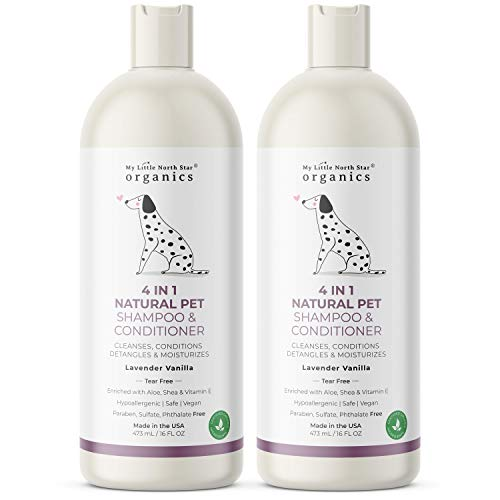 Natural Dog Shampoo, 4-In-1 Cleanses Conditions Detangles Moisturizes, Made in USA, 2x16oz, Natural Lavender Vanilla Pet Soap, Tear-Free Hypoallergenic Safe for Puppies, Sulfate Free Cruelty Free