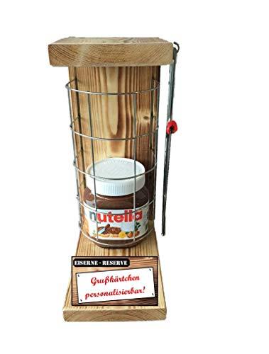 * Personalisierbar mit Ihrem Wunschtext - Eiserne Reserve Befüllung mit Nutella 450g Glas incl. Säge Das lustige witzige Geschenk - das personalisierbare Geschenk