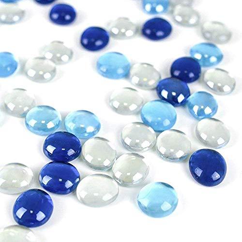 HAKACC Piedras decorativas de cristal, 450 g, color azul, piedras blancas planas, piedras decorativas para mosaico, cabujón, decoración