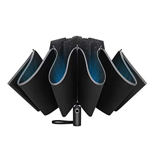 UVANTI Inverted Umbrella Windproof Travel Automatic Compact Folding Reverse Umbrellas with Teflon and Reflective Stripe (46 INCH)