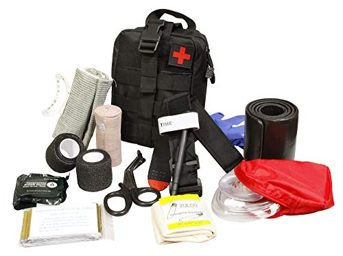 AsaTechmed Premium IFAK Kit - Stop The Bleed Kit - Tactical Medical Survival Tool Kit - Combat Tourniquet - Roll Up Splint - MOLLE System -Trauma Kit - Compression Trauma Bandage