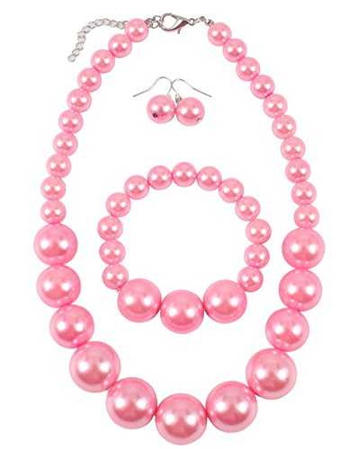 Shineland Simple Large Big Simulated Pearl Statement Necklace Bracelet and Earrings Jewelry Set (Pink)