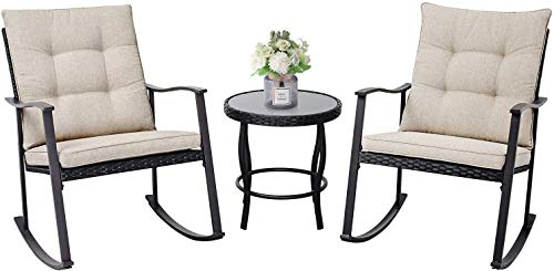 SOLAURA Outdoor Furniture 3 Piece Rocking Wicker Patio Bistro Set Black Wicker with Beige Cushion, Two Rocking Chairs with Glass Coffee Table