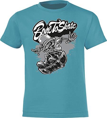 Kinder Skateboard T-Shirt: Born to Skate ? Bone to Skate ! - Skaten Skater Skaters Board - Shirt für Jungen Junge & Mädchen Geschenk-Idee zum Geburtstag für Kind-er Birthday Sport (Blau 134/146)