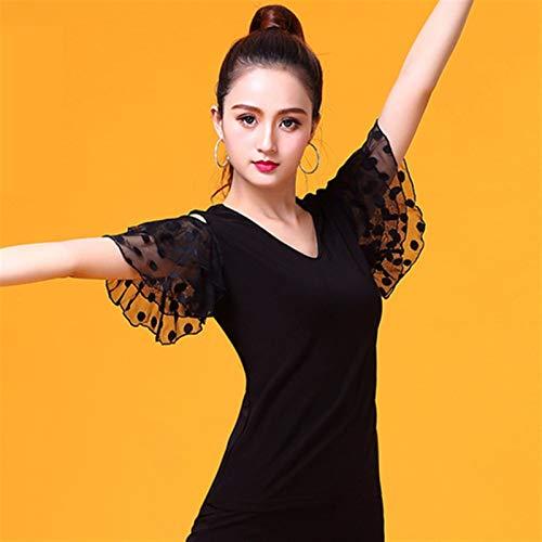 ACEACE V-cuello negro de manga corta moderna baile latino ropa Inicio de la Mujer/bailarinas, salón de baile de moda del desgaste del funcionamiento de vestuario (Color : Black, Size : X-Large)