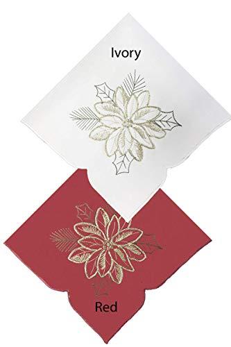 Newbridge Pristine Poinsettia - Servilletas bordadas de tela navideña con apliques bordados, juego de 4 servilletas de tela, color...