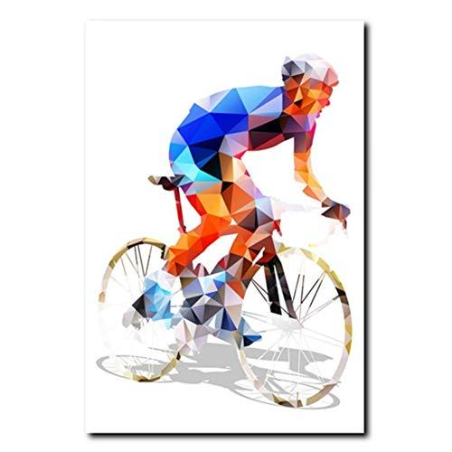 Ciclista Poligonale Quadro Astratto Stampa Artistica Immagini murali, Ciclismo Quadro su Tela Poster Decorazione murale -50x70cm Senza Cornice