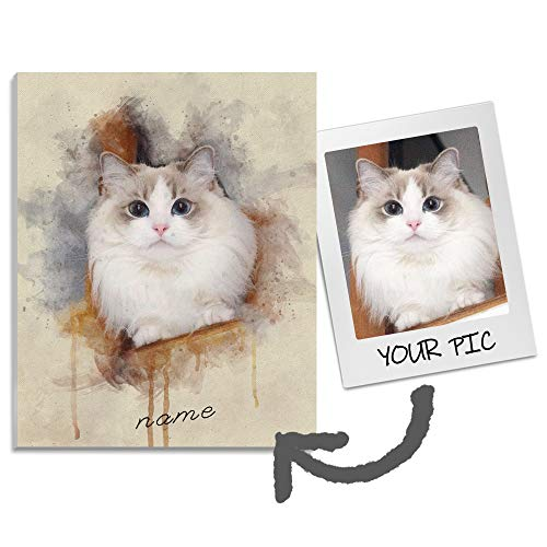 PUP Custom Watercolor Portrait Canvas Prints with Your Photos for Pets, Personalized Watercolor Canvas Portrait Wall Art for Living Room Decor,Modern Wall Funny Customizable Canvas for Pet, 15cm×15cm