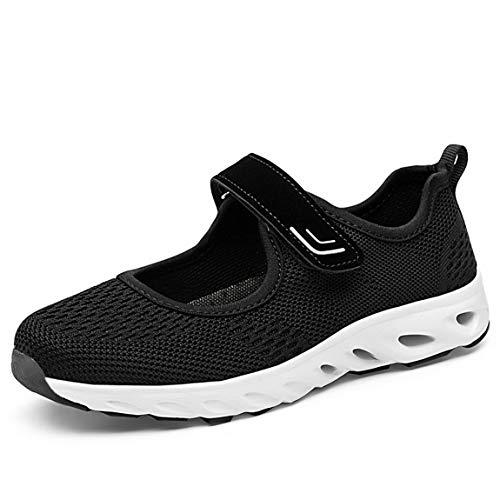 Zapatillas para Mujer Deportivo Sandalias Merceditas Ligero Mary Jane Deportes para Caminar Yoga Mocasines Verano Correr Calzado Negro EU38