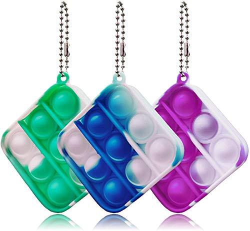 Spielen 3 Stück Fidget Toy Pop It Push Schlüsselanhänger Spielzeug für Schlüsselanhänger, Kinder und Erwachsene Einfaches Push Bubble zur Ablenkung bei Stress & Nervosität