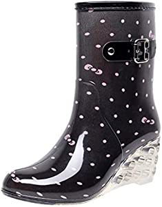 YWLINK Botas De Lluvia Mujer Hunter Zapatos CuñA Botas De Lluvia Hebilla con Cremallera Lateral Transparentes Zapatos De Goma Moda Casual Antideslizante Botas De Nieve PVC TamañO Grande(Rosado,39EU)