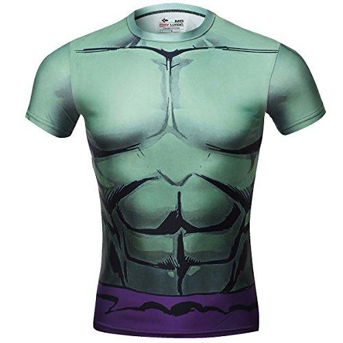 Cody Lundin Movie Theme Superhero Uomo Manica Corta Tees Fitness Compressione Shirt, Verde Gigante T-Shirt (M)