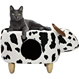 Critter Sitters 16' Seat Height Animal (Black/White Cow) Shape Pet House Ottoman