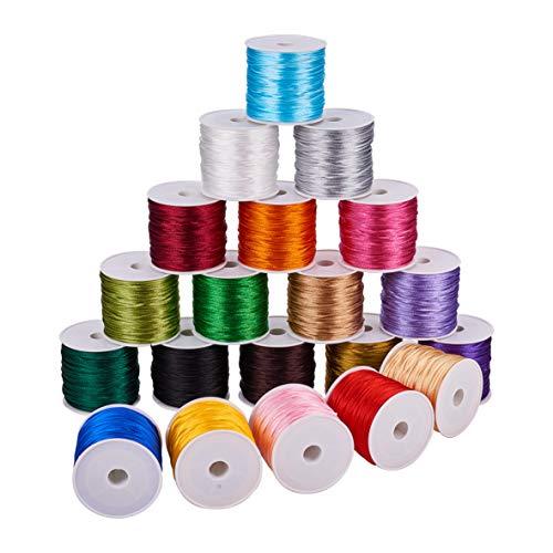PandaHall Elite 20 Colores 640 Yardas 1 mm de Cuerda de Nailon Satinado para Collar, Pulsera, abalorio, Nudo Chino Kumihimo